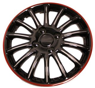 SET OF 4 UNIVERSAL FIT SAKURA 14 BLACK RED FINISH WHEEL COVERS TRIMS