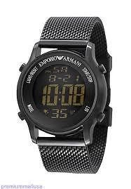 Emporio Armani Digital Men Watch Ar5926 Black Mesh Bracelet