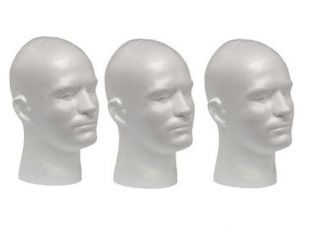 WHITE MALE (12 TALL) STYROFOAM MANNEQUIN WIG / HAT DISPLAY (3 heads