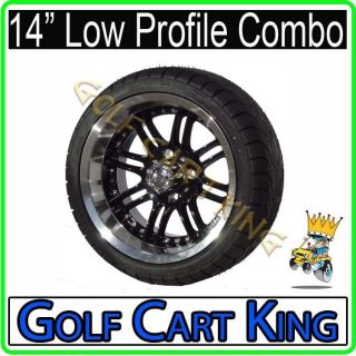 Optimus Black 8 Spoke 14 Low Profile Golf Cart Wheel & Tire Combo