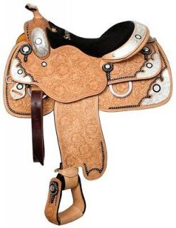 SHOWMAN 16 WESTERN PLEASURE SILVER HORSE SHOW SADDLE W/MATCHING