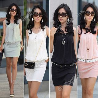 womens sleeveless crew neck casual chiffon sundress mini dress