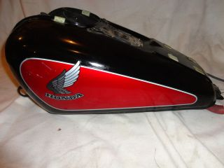 honda 85 vt100 red and black motorcycle fuel gas tank