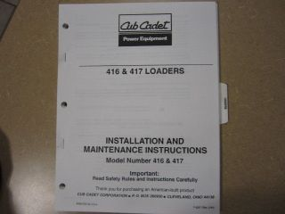 cub cadet 485 loader owners maintenance manual