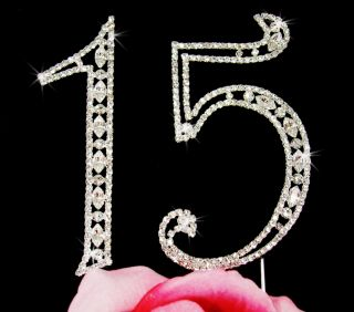 Sweet 15 Fifteen Birthday Swarovski Crystal Jeweled Cake Topper Set