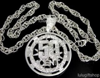 SILVER PLATED 50 CENT CZ SPINNER HIP HOP PENDANT CHAIN NECKLACE ICED