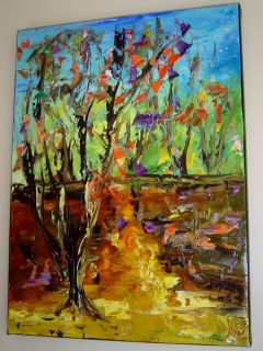 Modern Contemporary Oil Knife Painting Forest Eugenia Abramson