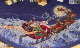Gold HERE COMES SANTA TREE SKIRT Christmas Counted Cross Stitch Kit