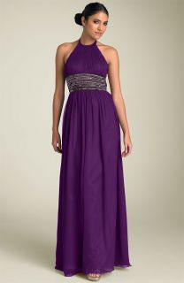 200 Adrianna Papell Chiffon Halter Beaded Waist Gown Size 2