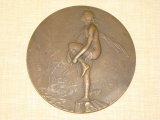 Feriam Sidera Antique Art Deco Aeronautic Bronze Medal by M Dammann
