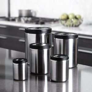 Kitchen Canister Set Food Storage Stainless Steel Air Tight New