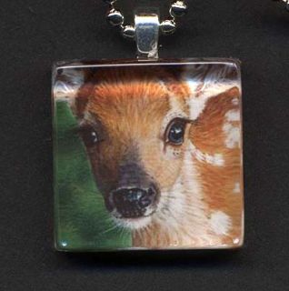 Akiko Original Deer Fawn Glass Tile Pendant Signed