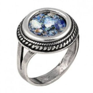 925 Sterling Silver Ancient Roman Glass Ring Custom Size