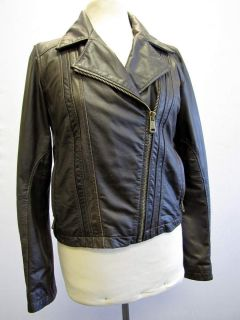 Andrew Marc Womens Brown Leather Jacket Medium
