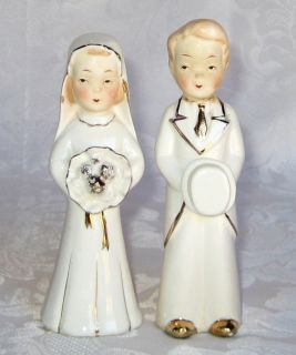Antique Vintage Gold Gilt Porcelain Bride Groom Figurines Wedding