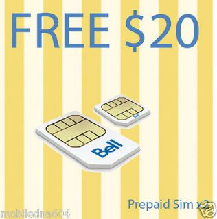 Prepaid Bell Mobility LTE Sim Card FREE $10 Start up ((30cents per