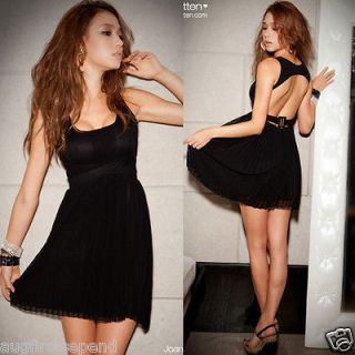 New Sexy Women Backless Pleated Chiffon Black Party Dresses Stylish
