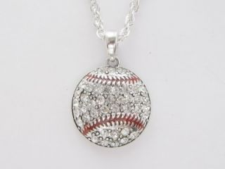 baseball crystal fashion necklace jewelry