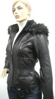 Baby Phat Cinched Waist Leather Jacket Coat Black Small