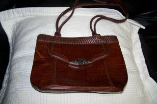 Marc Chantal Brown Faux Croc Leather Handbag VERY NICE Pre Owned
