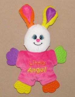 Plush Bunny Rabbit Teether Angel Stuffed Baby Toy Bright Pink