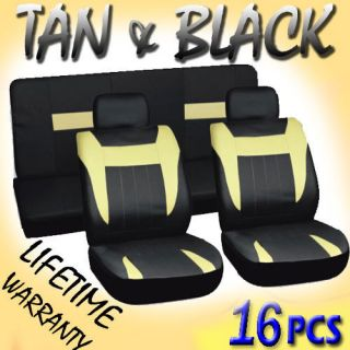 16pc Set Tan Black Auto Car Seat Covers Free Steering Wheel Belt Pads