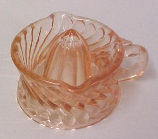 Pink Depression Glass Small Swirl Ribbed Handled Juicer Reamer New