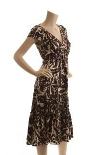 BCBG Max Azria Brown Silk Print Dress New Size 6