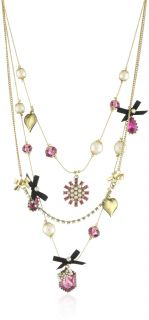 Betsey Johnson Iconic Fabulous Fuchsia Crystal Gem Multi Charm