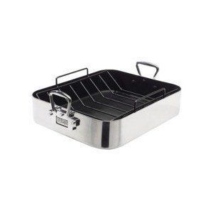 Bialetti Extra Large Heavy Duty Aluminum Roaster with Rack New in Box