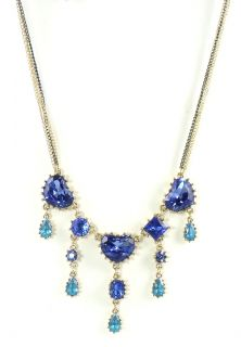 Betsey Johnson Iconic Blue Lagoon Heart Gem Fringe Necklace