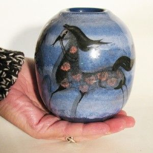 Vintage Polia Pillin Three Horse Vase Rare HTF Shape Pink Blue Black