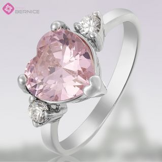 Lady Fashion Jewelry Pink Sapphire White Gold Plated Cocktail Gem Ring