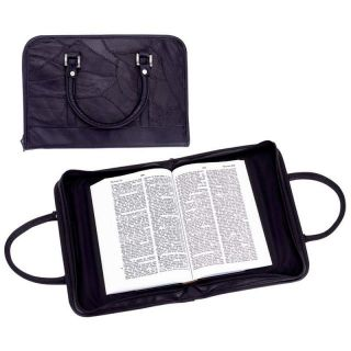 New Large Black Leather Bible Cover Book Case Tote Purse Cross Zipper