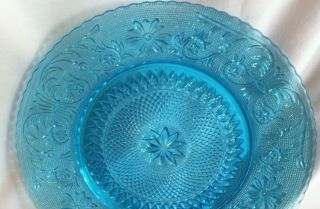 Duncan Miller Indiana Glass Sandwich Set of 2 Lunch Plates Blue Colony