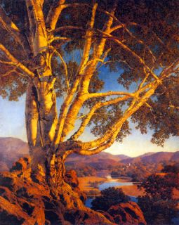 Old White Birch Big Maxfield Parrish Art Deco Print