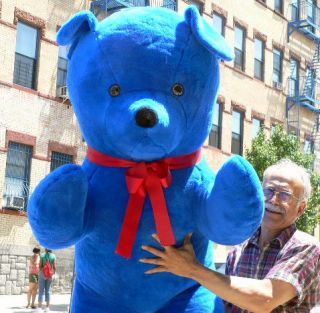 Giant 68 Jumbo Plush Big Med Blue Teddy Bear Stuffed