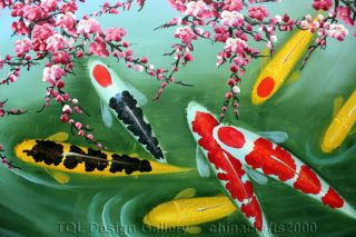60 Feng Shui Koi Fish Cherry Blossom Signed Original Abstract Art Oil
