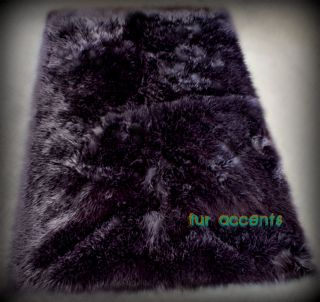 BLACK BEAR RUG 2X5 RUNNER PLUSH FAUX FUR SHEEP SKIN LODGE CABIN ACCENT