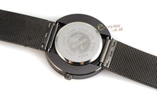 Turntable Dial Quartz Mens Watch Military Black Steel Band Gift