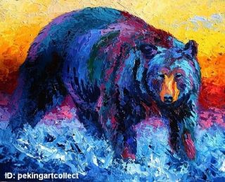 Art Oil Painting Animal Black Bear Portrait on Canvas 24x36