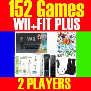 NINTENDO BLACK Wii SUPER MARIO CONSOLE SYSTEM 2 PLAYERS 152 GAMES FREE