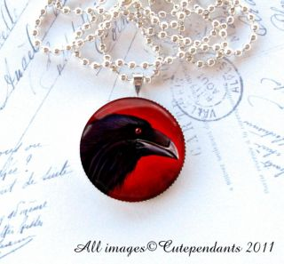 Red Eye Raven with Black Magic Round Pendant Glass Necklace Gothic