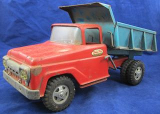 1960s TONKA Mound Minnesota DUMP TRUCK Two Tone Pressed Steel Blue Red