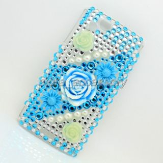 3D Blue Flower Bling Crystal Back Cover Case for Mobile Cell Phone