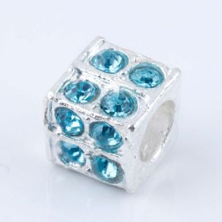 PC159  Cubic Blue Crystals Bling Beads 5X