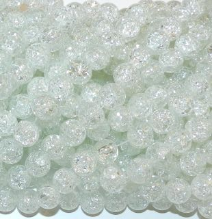 Blizzard White 10mm Round Ball Crackle Glass Beads 32 Strand G2762L2