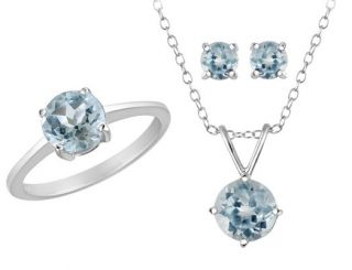 Blue Topaz Ring Earring Pendant Set 4ct in Sterling Silver w Chain