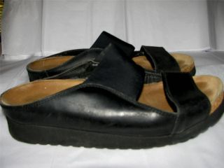 Eclipse Walking Sandals Black Leather Stretch Fabric Size 37 USA Fit 6