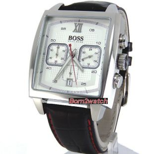 Hugo Boss Men Chronograph Date Solid Steel Leather Strap 1512734